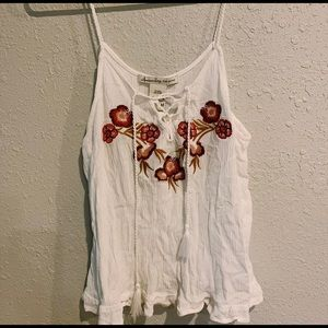 White red floral tank top